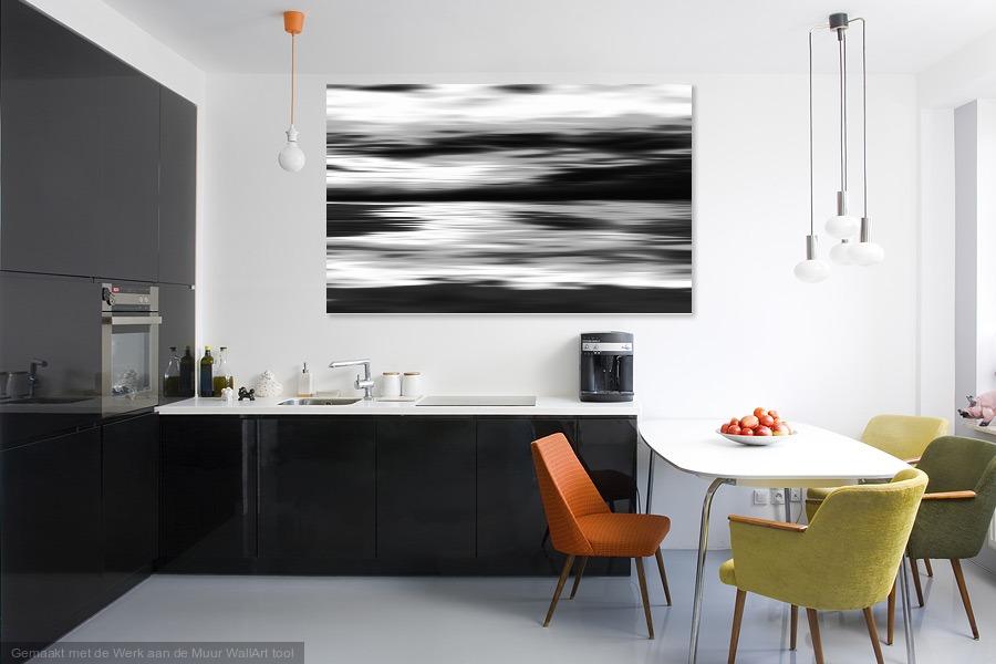 Black and White abstract painting - Werk aan de Muur