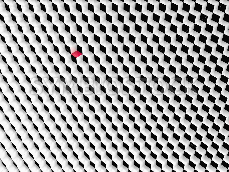 Black and white cubes with one red cube.