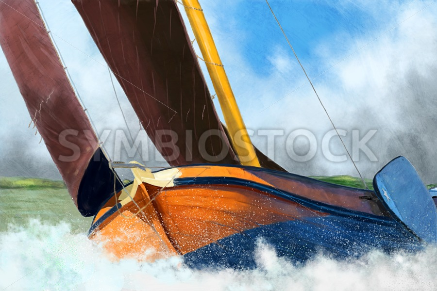 Stormy weather skutsje sailing ship - Jan Brons Stock Images
