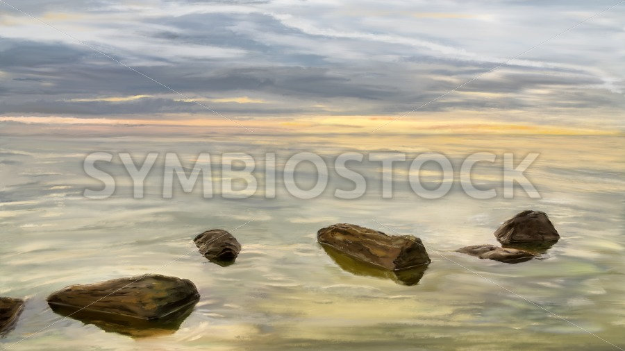 Sea sunset during calm weather - Jan Brons Stock Images