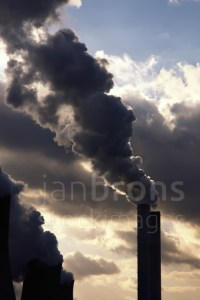 Wadden Sea - Stock Image: Power Station Polluting.