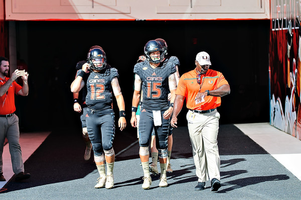 Miami Hurricanes QBs walk out for warmups