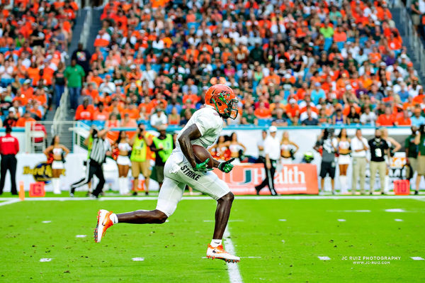 FAMU WR, Brandon Norwood, runs a kickoff out of the endzone