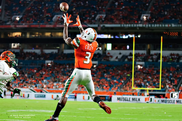 Stacy Coley hauls in a touchdown pass