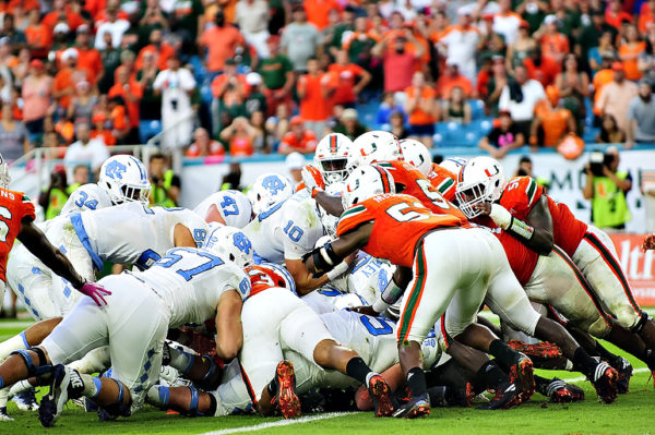 Tar Heels QB, Mitch Trubisky, tries to sneak in for a touchdown against the Miami Hurricanes