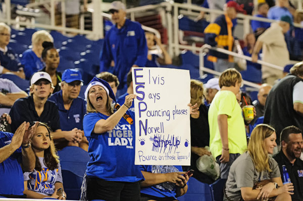 Memphis Tigers fan holding a sign for ESPN