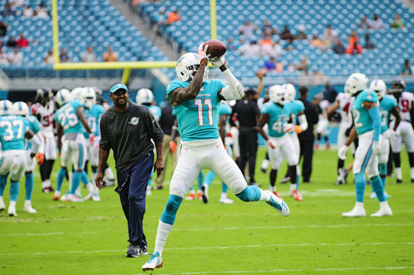 Dolphins WR, #11 DeVante Parker, catches a pass in drills