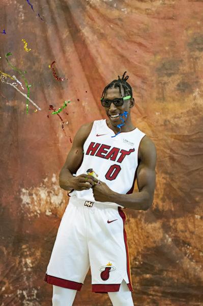 Miami Heat guard, Josh Richardson, pops a little celebration into his portrait for ESPN