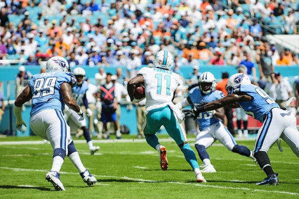 Dolphins WR, DeVante Parker, runs after the catch