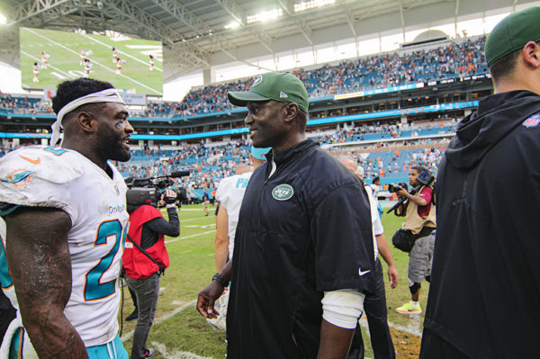 Todd Bowles is all smiles seeing Reshad Jones (20)