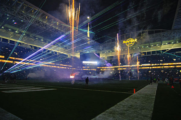 Half time laser and fireworks show