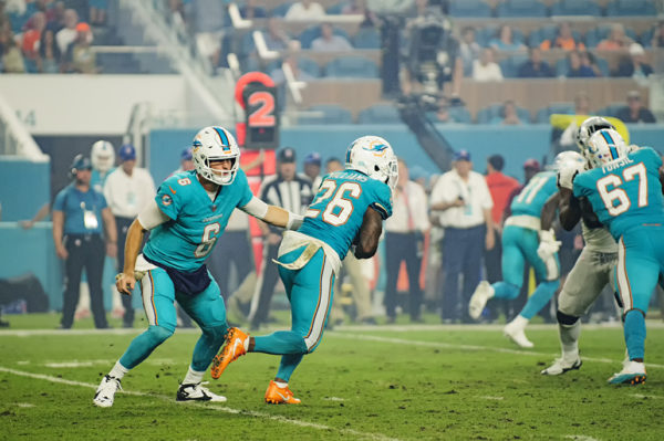 Jay Cutler (6) hands off to Damien Williams (26)