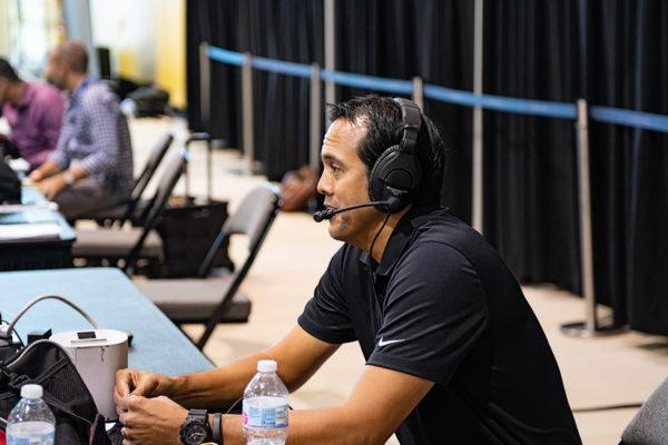 Erik Spoelstra gives a radio interview