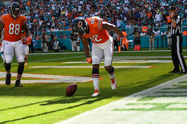 Chicago Bears wide receiver Allen Robinson (12) spins the ball in celebration