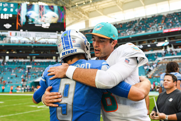 The QBs meet after the game