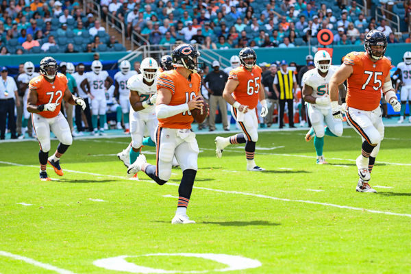 Chicago Bears quarterback Mitchell Trubisky (10) scrambles out of the pocket