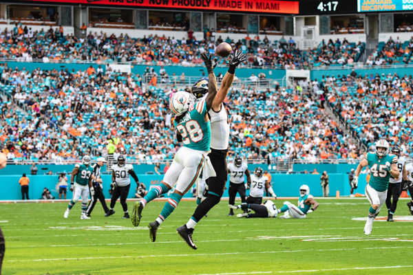 Miami Dolphins cornerback Bobby McCain (28) goes up to defend a pass