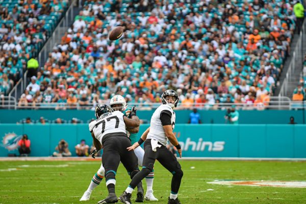 Jacksonville Jaguars quarterback Cody Kessler (6) looks up to see the ball slip from his hands