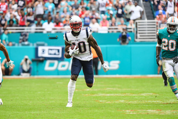 New England Patriots wide receiver Josh Gordon (10) runs after a catch