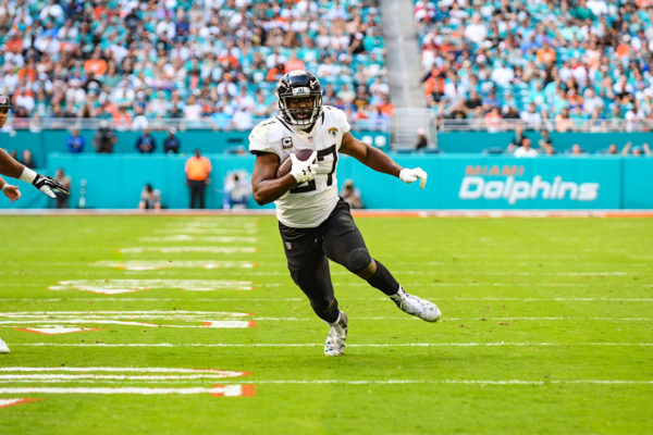 Jacksonville Jaguars running back Leonard Fournette (27) rushes