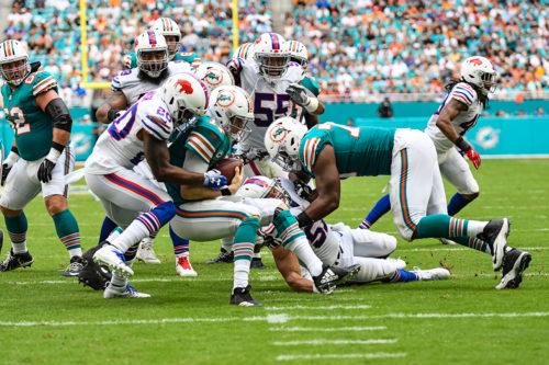 Miami Dolphins quarterback Ryan Tannehill (17) gets sacked
