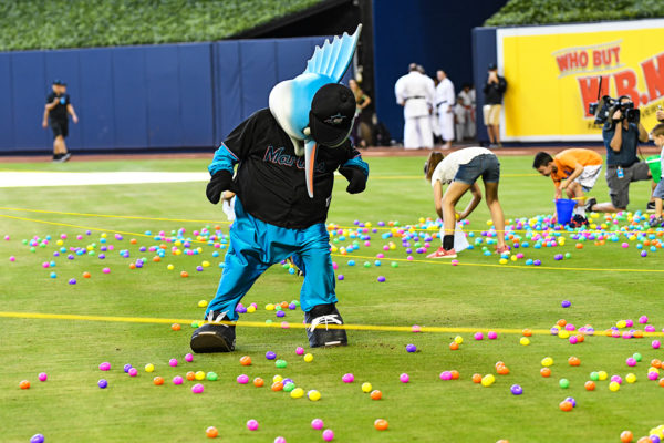 Billy the Marlin during the Easter Egg hunt