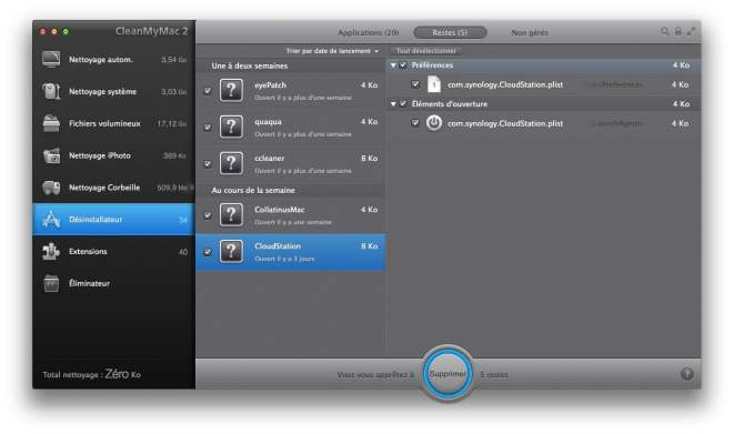 nettoyage reste apps mac