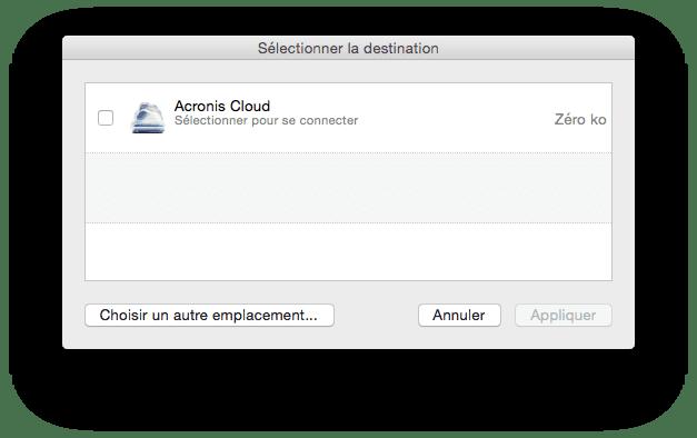 Sauvegarder son Mac choisir emplacement