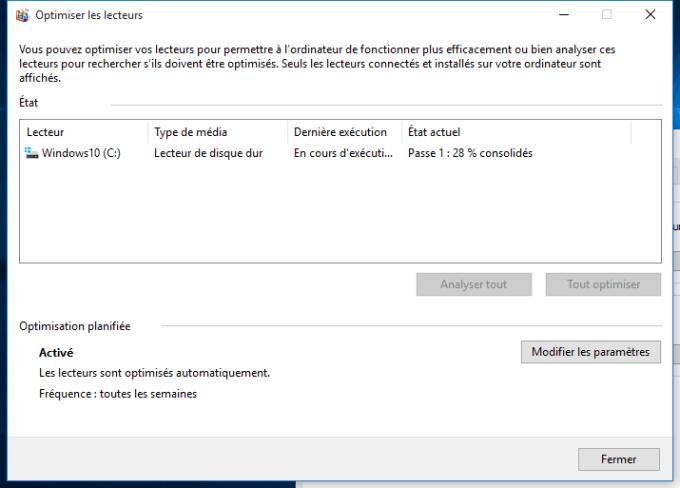 defragmenter Windows 10 consolider fichiers