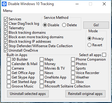 tracking windows 10 desactiver services
