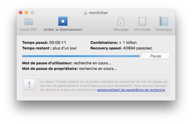 pdf sur mac rechercher mot de passe