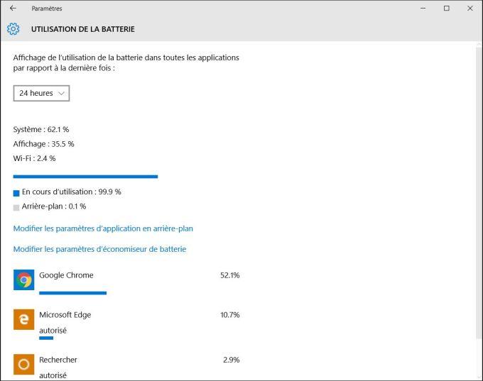 accelerer windows 10 utilisation batterie