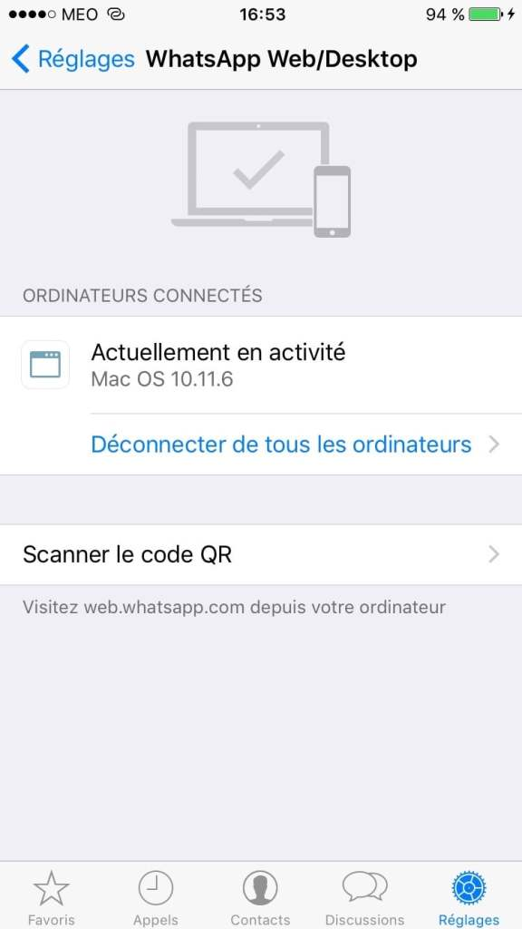 WhatsApp Mac connecte a iphone