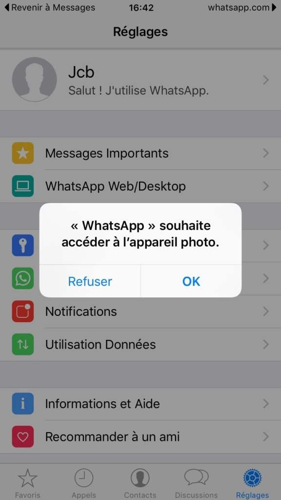 WhatsApp Mac souhaite acceder a appareil photo