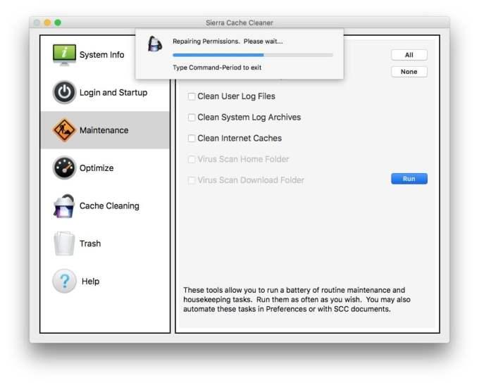 Reparer les permissions macOS Sierra en cours