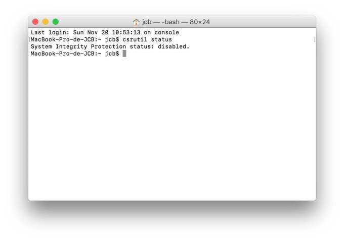 Desactiver le SIP macOS Sierra csrutil statut