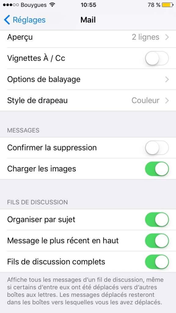 Afficher les messages les plus récents en haut avec Mail ios 10 rapidement