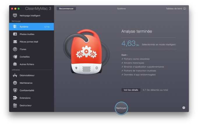 Nettoyer macOS Sierra analyse terminee