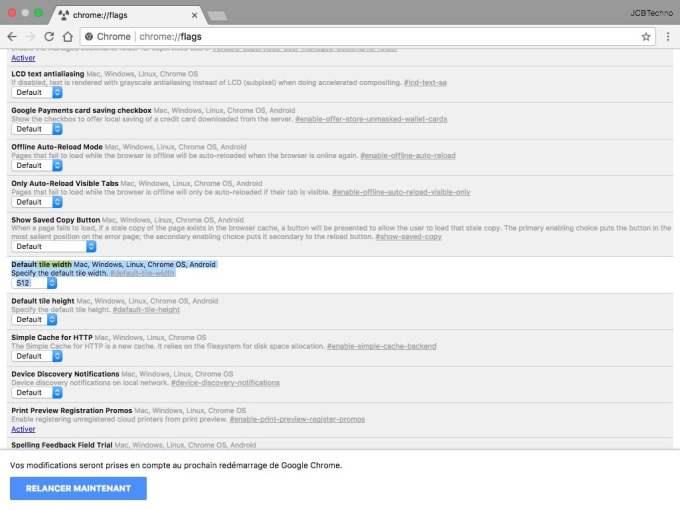 Accelerer Google Chrome Mac Default tile width