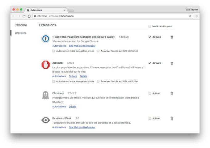 Accelerer Google Chrome Mac desactiver extensions
