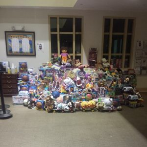 Just a few of the 5,300 toys collected through the efforts of Simon and the Boxx for Tots program at the Katz JCC