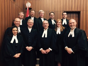 """The team of lawyers defending constitutional freedoms in the Nova Scotia Supreme Court in Trinity Western University v. Nova Scotia Barristers' Society, including counsel for TWU, JCCF, and five interveners."