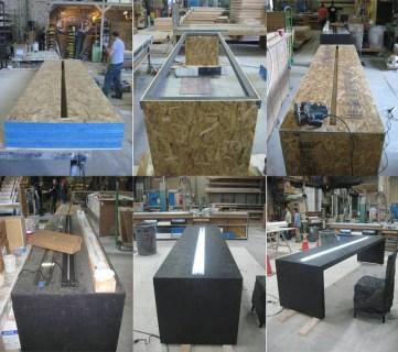 Work in progress on the custom neon tables designed by BureauBetak for the Guggenheim International Gala