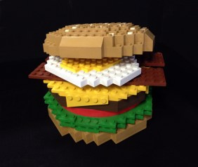 """18"""" tall faux Lego burger. Produced by Jellio. Built by JCDP"""
