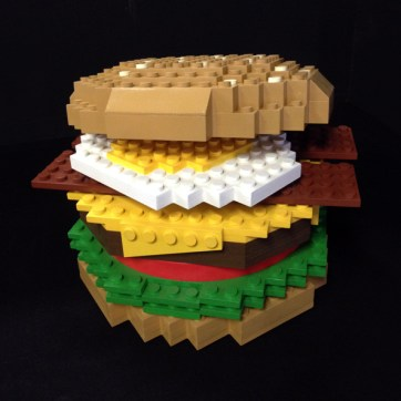"18"" tall faux Lego burger. Produced by Jellio. Built by JCDP"