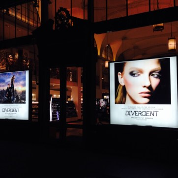Sephora Light Boxes. Graphics designed by Sephora. Lightboxes built and installed by JCDP