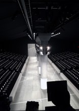 Designed by BureauBetak Lacoste AW15. Columns, runway and benches built for NY Fashion Week