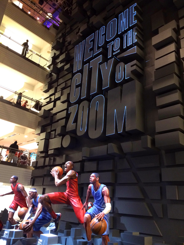 40' wall and letters for Niketown NYC Allstar weekend. Designed and Produced by Nike and Tangram Int. Wall and letters built by JCDP