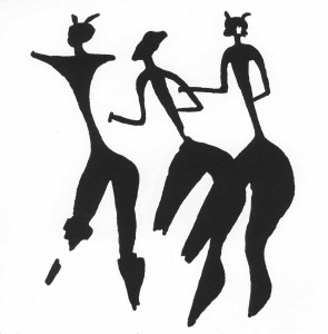 """Three women, from the Valltorta Gorge (From rock painting, Spain, c. 10,000 to c. 3000 <span style=""""font-variant:small-caps"""">b.c.</span>)"""