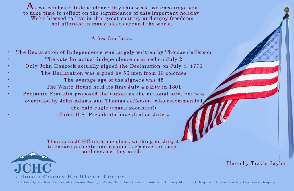 JCHC encourages you to have a safe and blessed Independance Day!